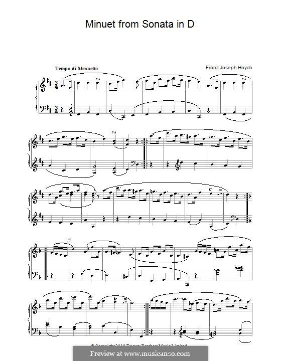Sonate für Klavier Nr.34 in D-Dur, Hob.XVI/33: Menuett by Joseph Haydn
