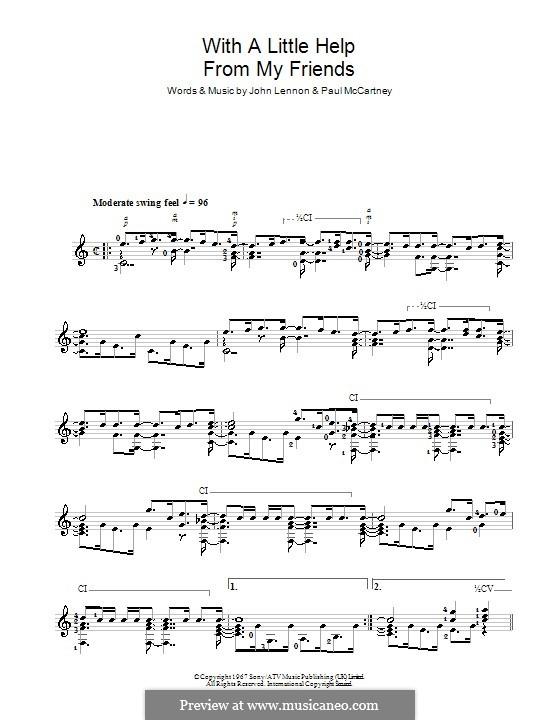 With a Little Help from My Friends (The Beatles): Für Gitarre by John Lennon, Paul McCartney