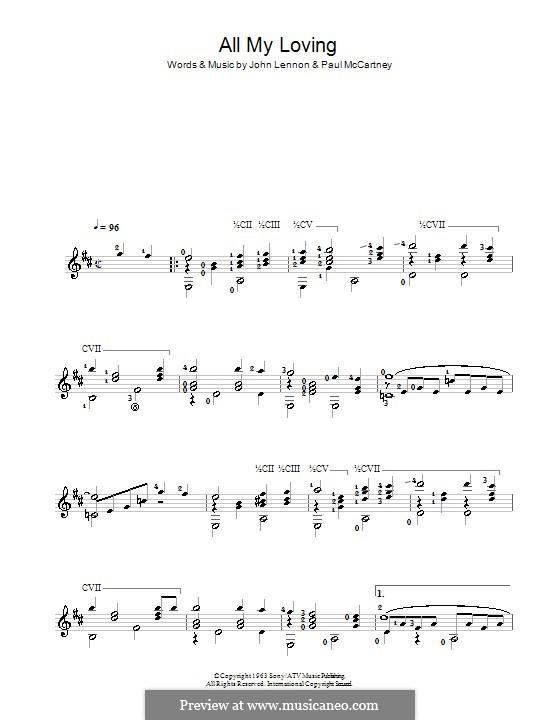 All My Loving (for guitar or piano): Für Gitarre by John Lennon, Paul McCartney