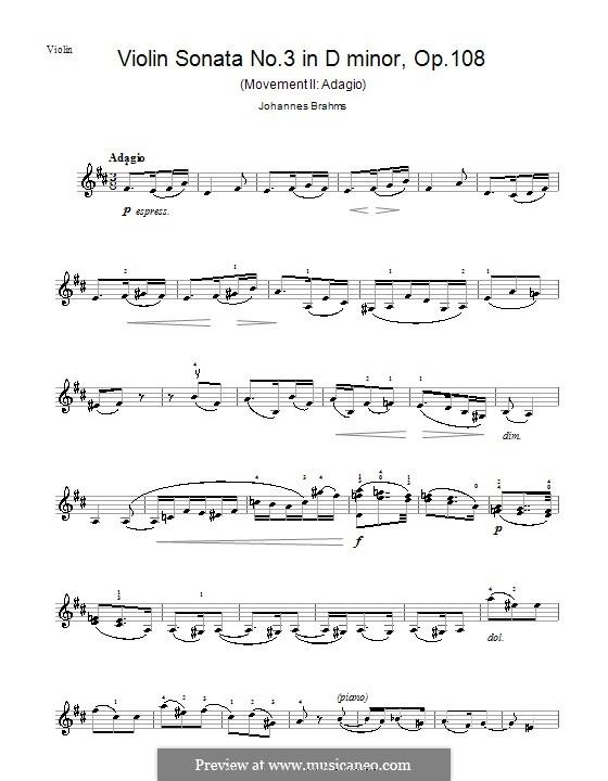 Sonate für Violine und Klavier Nr.3 in d-Moll, Op.108: Teil II – Violinstimme by Johannes Brahms