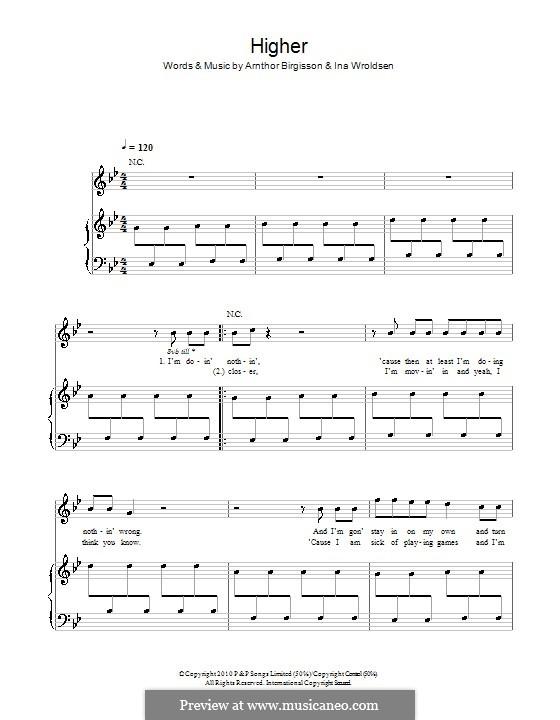 Higher (The Saturdays): Für Stimme und Klavier (oder Gitarre) by Arnthor Birgisson, Ina Wroldsen