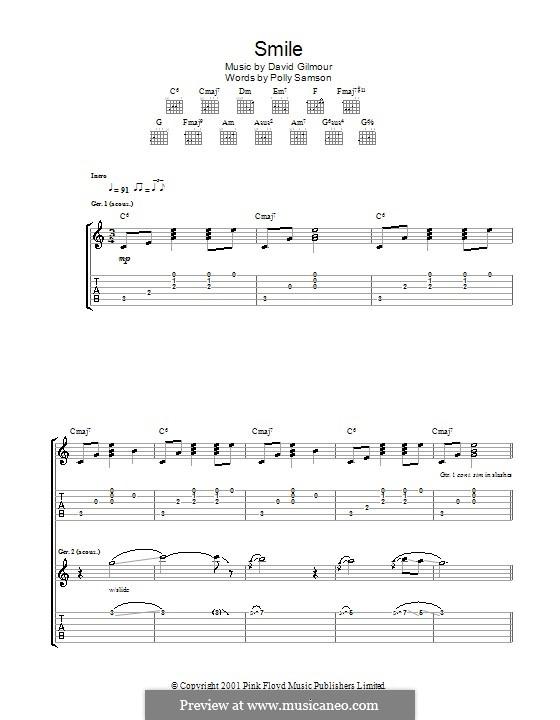 Smile: Für Gitarre mit Tabulatur by David Gilmour