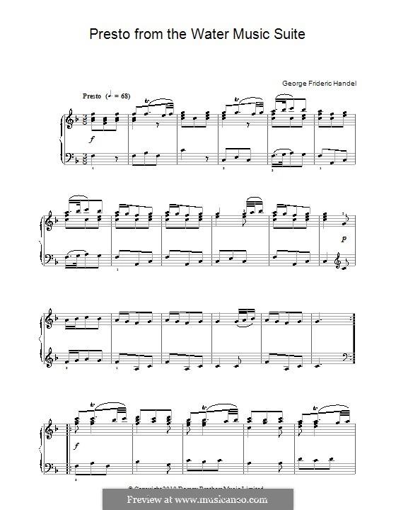 Suite Nr.1 in F-Dur, HWV 348: Menuett, für Klavier by Georg Friedrich Händel