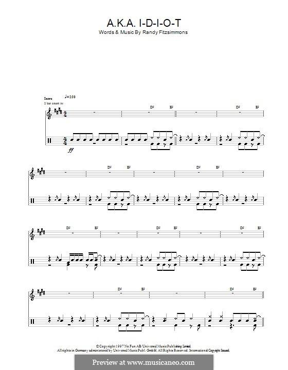A.K.A. I-D-I-O-T (The Hives): Für Trommeln by Randy Fitzsimmons