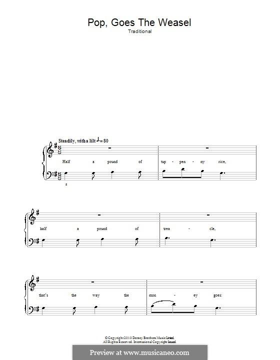 Pop Goes the Weasel: Für Klavier, leicht by folklore
