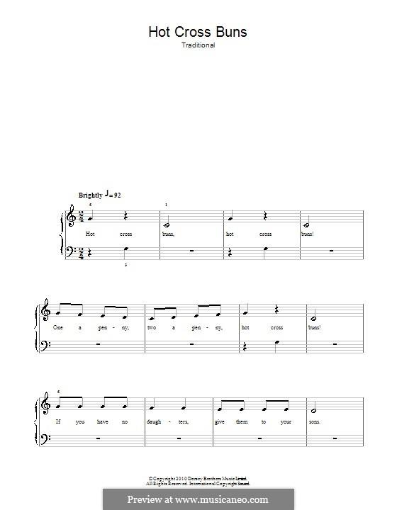 Hot Cross Buns: Für Klavier, leicht by folklore