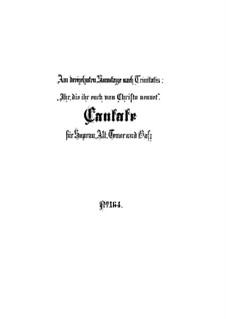 Ihr, die ihr euch von Christo nennet, BWV 164: Vollpartitur by Johann Sebastian Bach