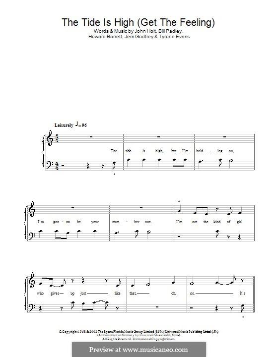 The Tide is High (Get the Feeling): Für Klavier, leicht (Blondie) by Bill Padley, Howard Barrett, Jeremy Godfrey, John Holt, Tyrone Evans