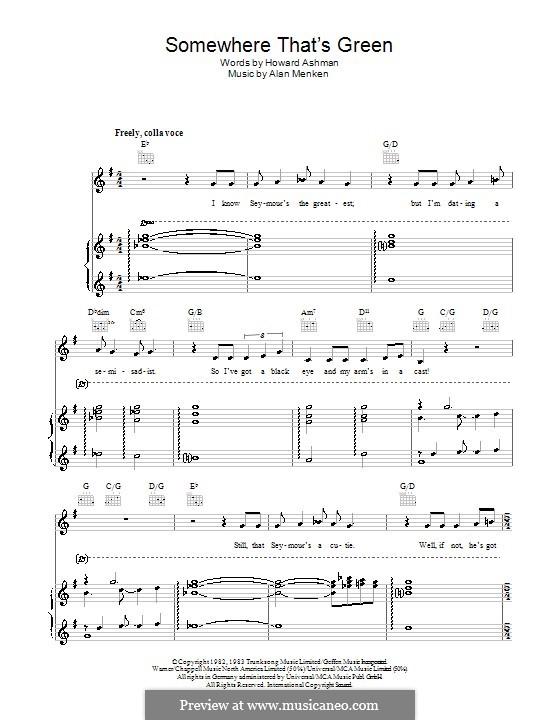 Somewhere That's Green: Für Stimme und Klavier (oder Gitarre) by Alan Menken