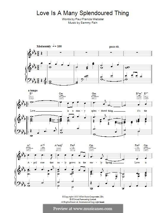 Love Is a Many-Splendored Thing (The Four Aces): Für Stimme und Klavier (oder Gitarre) by Sammy Fain