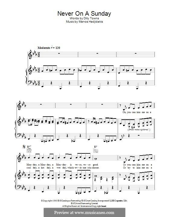 Never on Sunday: Für Stimme und Klavier (oder Gitarre) by Manos Hadjidakis