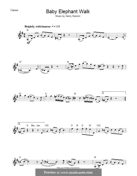 Baby Elephant Walk: Für Klarinette by Henry Mancini
