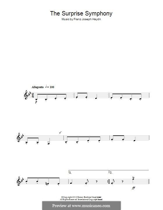 Teil II: Theme, for saxophone by Joseph Haydn