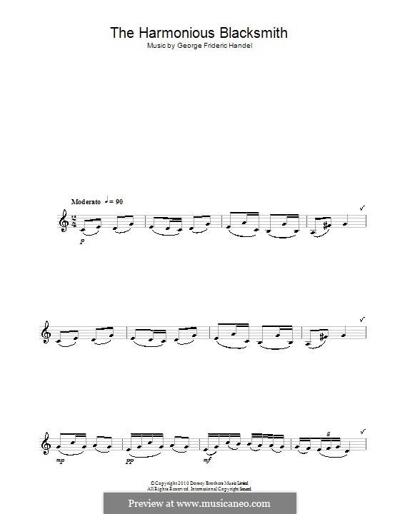 Suite Nr.5 in E-Dur, HWV 430: Teil III, für Saxophon by Georg Friedrich Händel