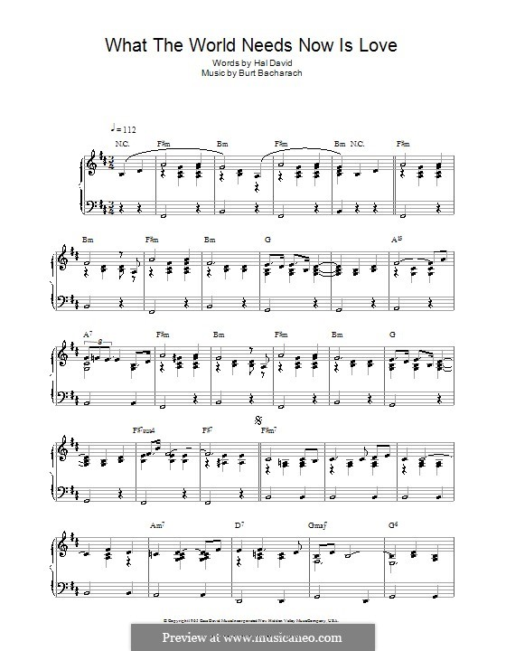 What the World Needs Now Is Love: Für Klavier by Burt Bacharach
