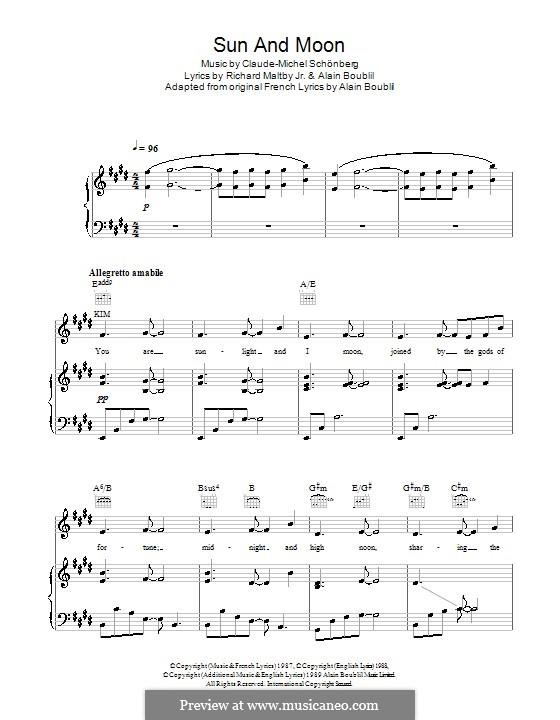 Sun and Moon: Für Stimme und Klavier (oder Gitarre) by Claude-Michel Schönberg