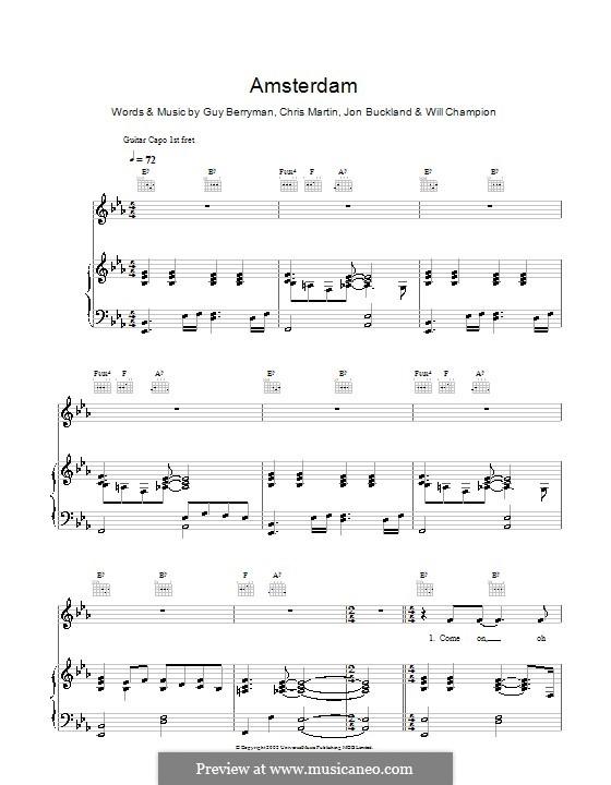 Amsterdam (Coldplay): Für Stimme mit Klavier oder Gitarre by Chris Martin, Guy Berryman, Jonny Buckland, Will Champion