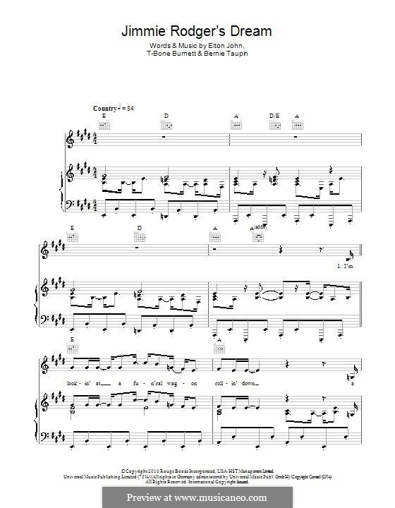 Jimmie Rodgers' Dream: Für Stimme und Klavier (oder Gitarre) by Elton John, T-Bone Burnett