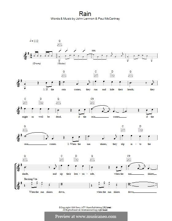 Rain (The Beatles): Melodie, Text und Akkorde by John Lennon, Paul McCartney