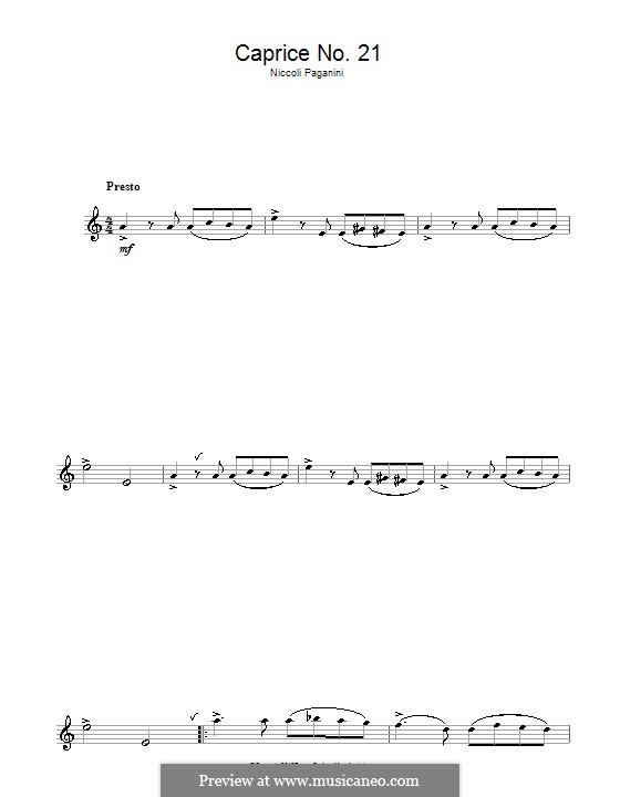 Vierundzwanzig Capricen, Op.1: Caprice Nr.24, für Flöte by Niccolò Paganini