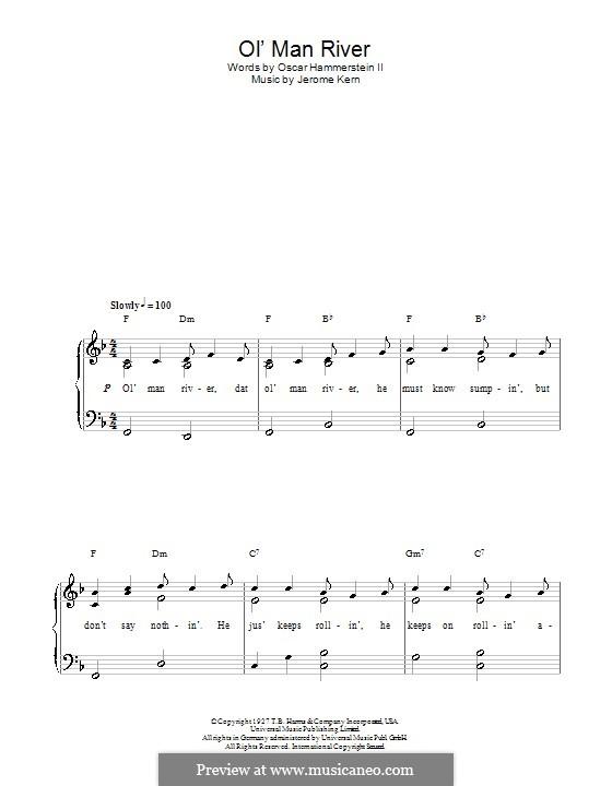 Ol' Man River (from Show Boat): Für Klavier, leicht by Jerome Kern