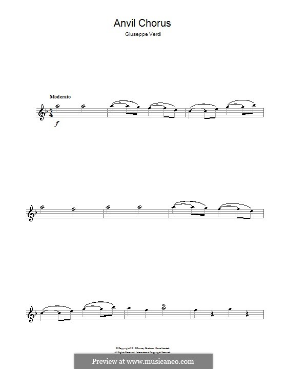 Anvil Chorus: Für Flöte by Giuseppe Verdi