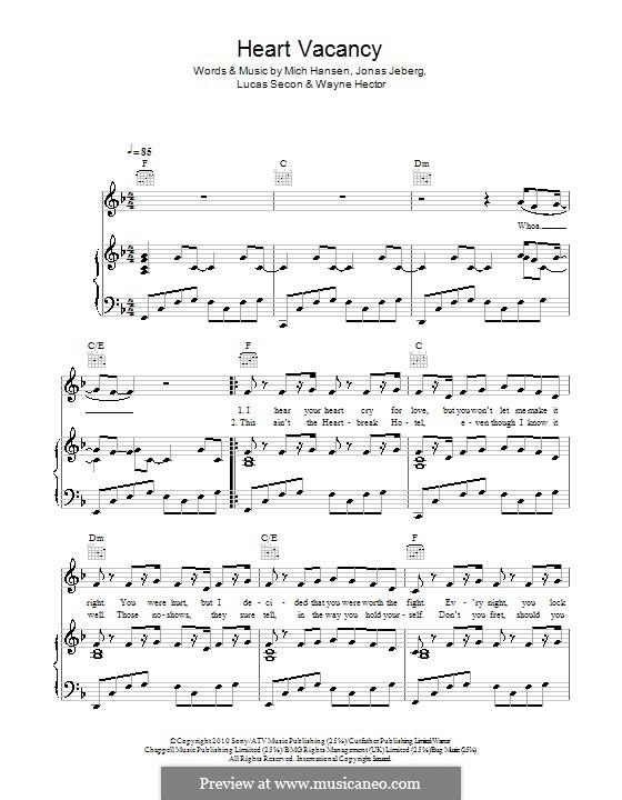 Heart Vacancy (The Wanted): Für Stimme und Klavier (oder Gitarre) by Jonas Jeberg, Lucas Secon, Mich Hansen, Wayne Anthony Hector