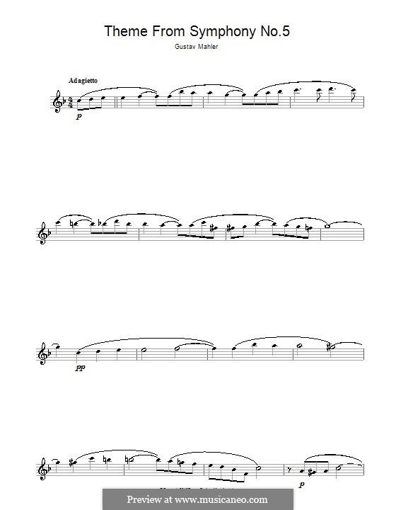 Sinfonie Nr.5 in cis-Moll: Adagietto. Version für Flöte by Gustav Mahler