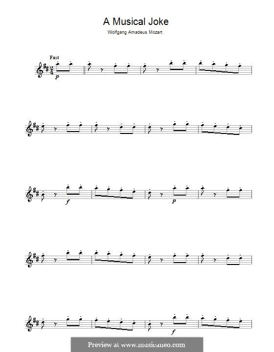 Ein Musikalischer Spass, K.522: Presto, für Flöte by Wolfgang Amadeus Mozart