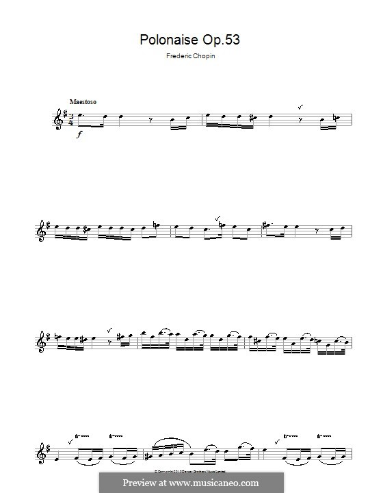 Polonäse in As-Dur 'Heroic', Op.53: Theme. Version for alto saxophone by Frédéric Chopin