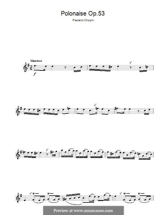 Polonäse in As-Dur 'Heroic', Op.53: Thema. Version für Flöte by Frédéric Chopin