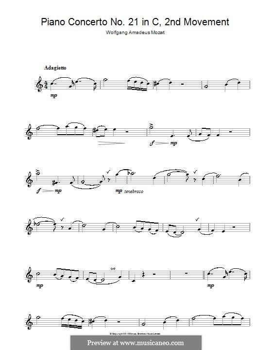 Konzert für Klavier und Orchester Nr.21 in C-Dur, K.467: Teil II (Fragment). Version für Saxophon by Wolfgang Amadeus Mozart