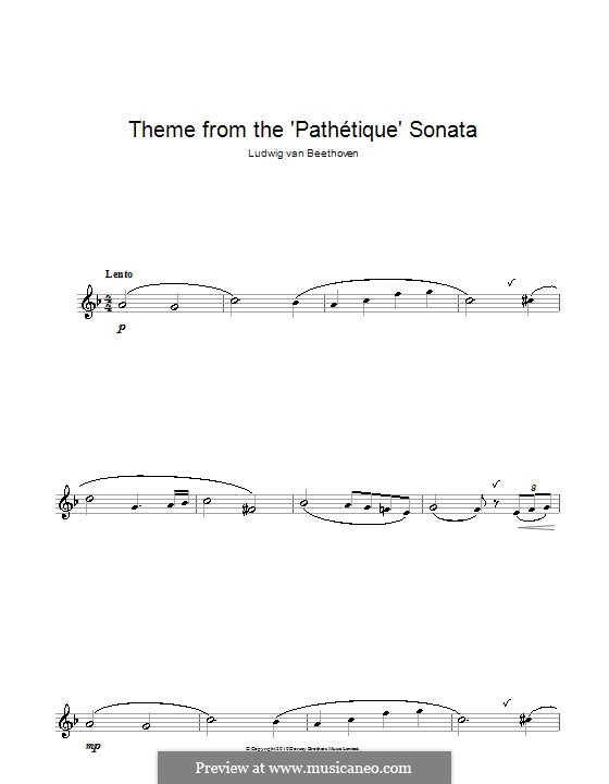 Teil II: Thema. Version für Altsaxophon by Ludwig van Beethoven