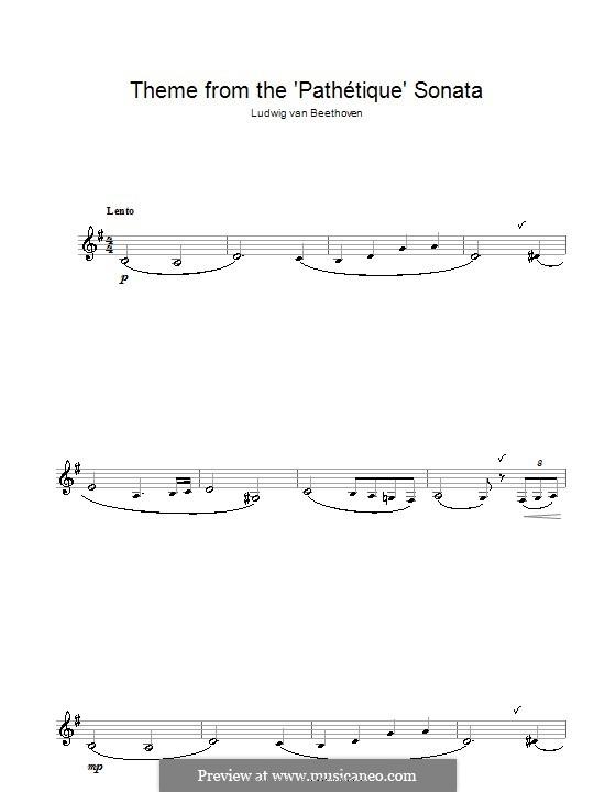 Teil II: Thema. Version für Klarinette by Ludwig van Beethoven