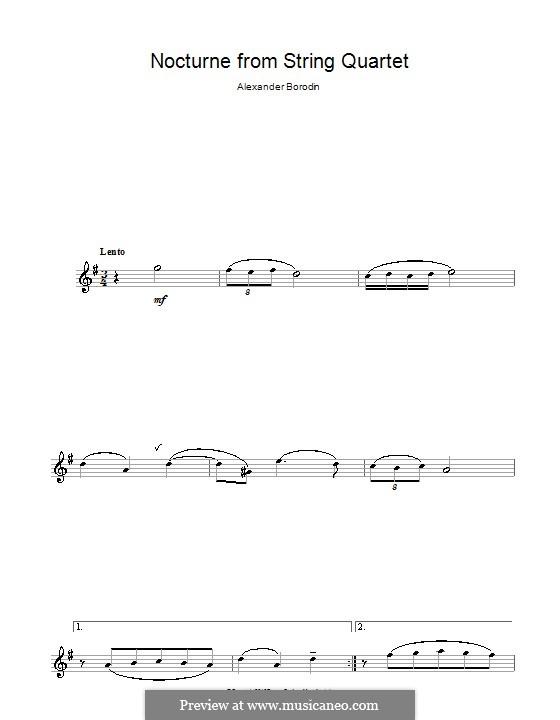 Streichquartett Nr.2 In D-Dur: Teil III (Theme). Version for alto saxophone by Alexander Porfiryevich Borodin