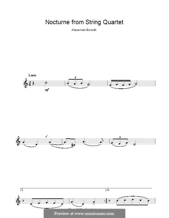Streichquartett Nr.2 In D-Dur: Teil III (Thema). Version für Klarinette by Alexander Porfiryevich Borodin