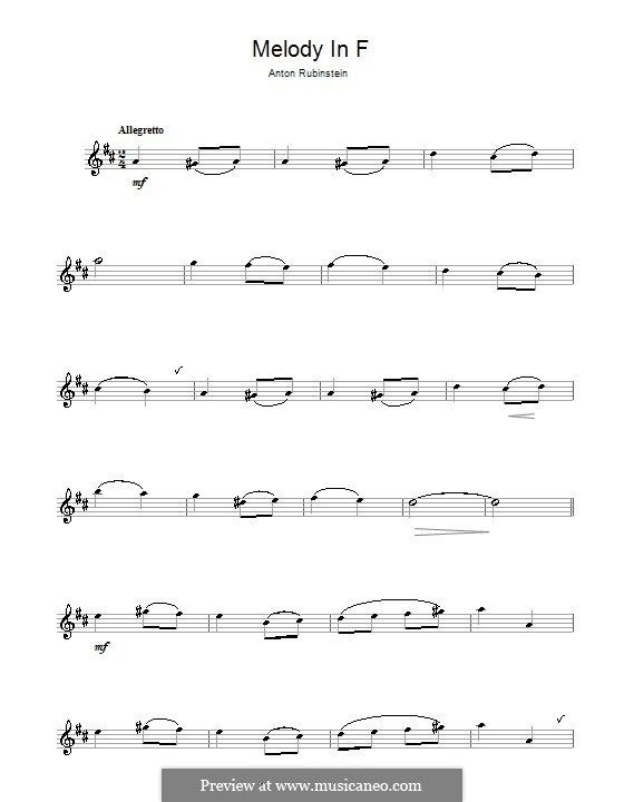 Zwei Melodien, Op.3: Melody No.1, for alto saxophone by Anton Rubinstein