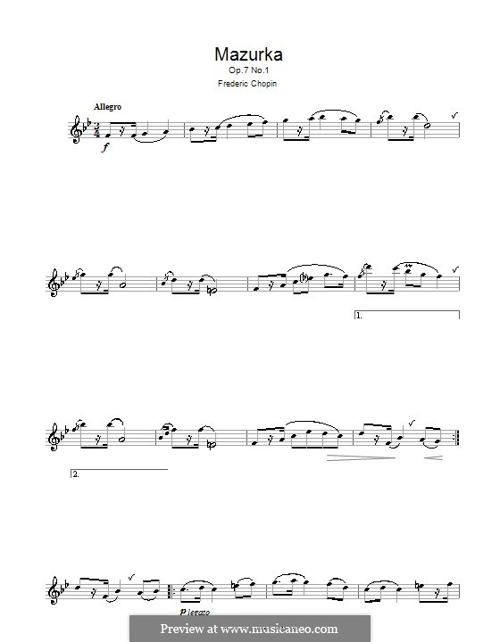 Mazurkas, Op.7: Nr.1, für Flöte by Frédéric Chopin