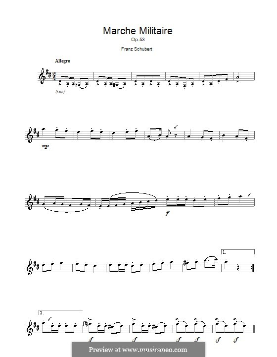 Drei militärische Marsche für Klavier, vierhändig, D.733 Op.51: Marsch Nr.1, für Flöte by Franz Schubert
