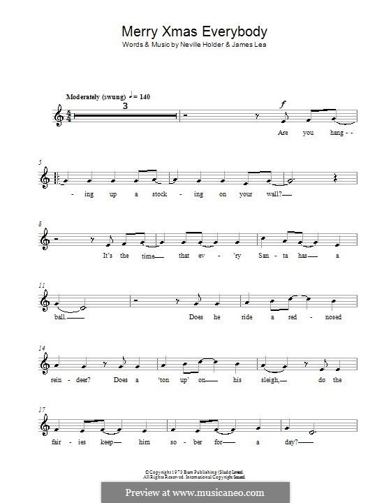 Merry Xmas Everybody (Slade): Für Flöte by James Lea, Noddy Holder