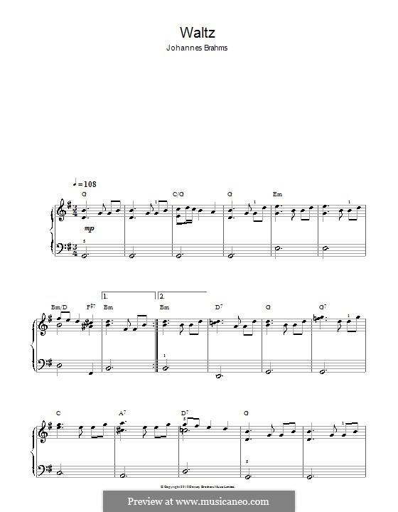 Walzer in G-Dur, Op.39 No.15: Einfache Noten für Klavier by Johannes Brahms