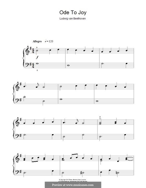 Ode an die Freude, für Klavier: Klavierversion für Anfänger (G-Dur) by Ludwig van Beethoven
