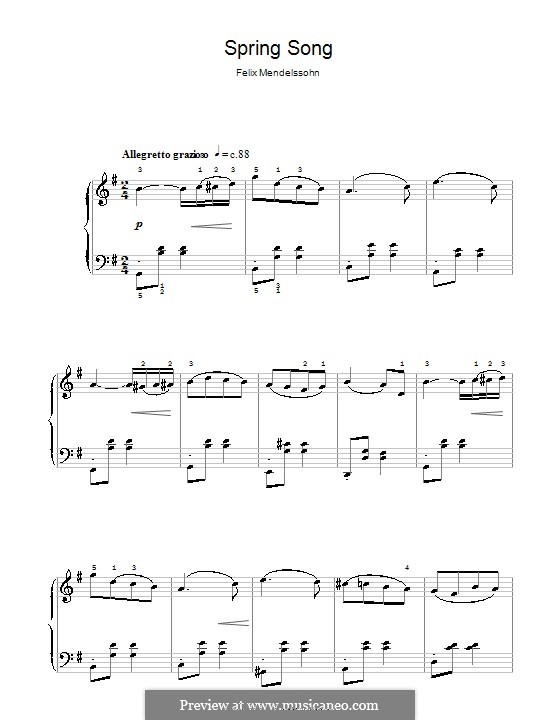 Lieder ohne Worte, Op.62: Nr.6 Frühlingslied, einfache Noten für Klavier by Felix Mendelssohn-Bartholdy