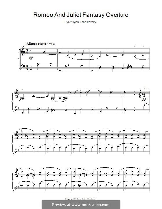 Love Theme: Arrangement for piano (high quality sheet music) by Pjotr Tschaikowski