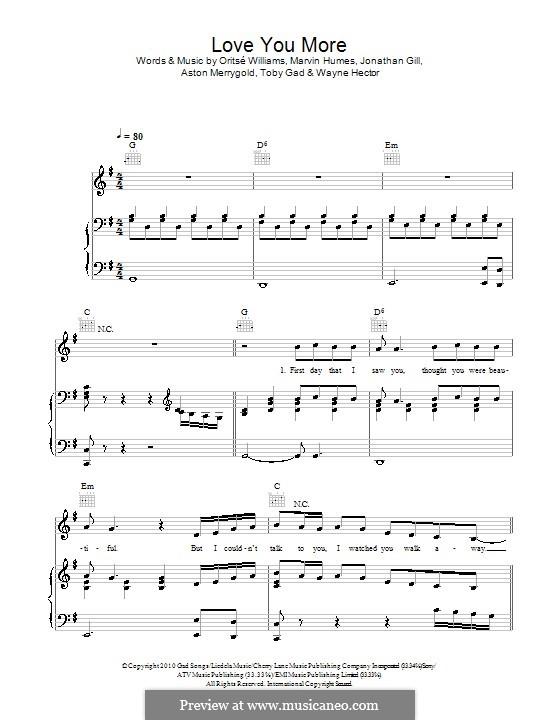 Love You More (JLS): Für Stimme und Klavier (oder Gitarre) by Aston Merrygold, Jonathan Gill, Marvin Humes, Oritsé Williams, Tobias Gad, Wayne Anthony Hector