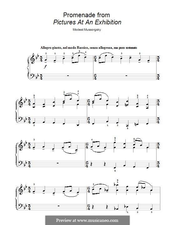 Promenade I: Klavierversion für Anfänger by Modest Mussorgski