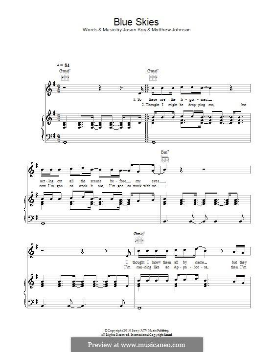 Blue Skies (Jamiroquai): Für Stimme und Klavier (oder Gitarre) by Jason Kay, Matthew Johnson