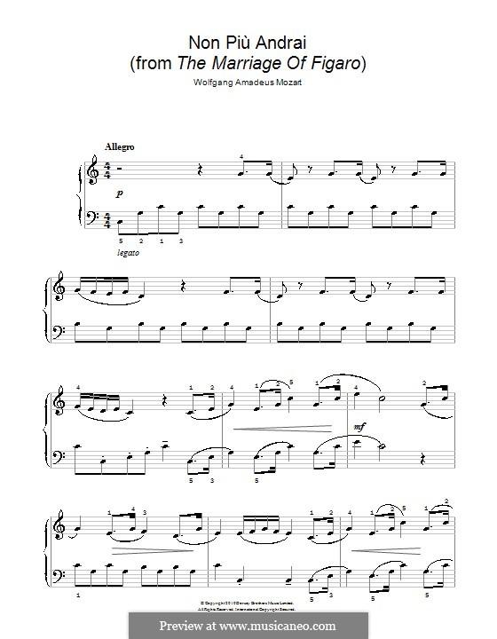 Non più andrai (Now no More): Version für Klavier by Wolfgang Amadeus Mozart