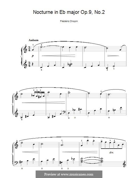 Nr.2 in Es-Dur: Einfache Noten für Klavier (C-Dur) by Frédéric Chopin
