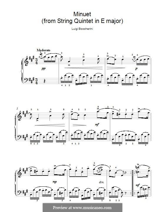Streichquintett Nr.5 in E-Dur, G.275 Op.107: Menuett, einfache Noten für Klavier by Luigi Boccherini